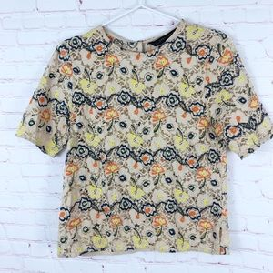 Zara Floral Lace Short Sleeve Blouse Top